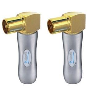 Image of   006521081 kabelsamler 1x Coax M, 1x Coax FM Guld, Sølv