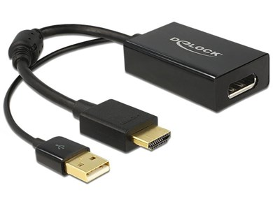 Image of   0.245m HDMI+USB2.0-A/DisplayPort 0,254 m HDMI + USB Sort