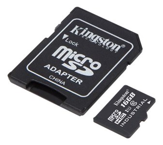 16GB microSDHC UHS-I Class 10 Industrial Temp Card + SD Adapt