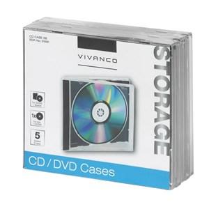 Image of   31691 optisk disk etui Smykkeboks 1 diske Sort, Transparent