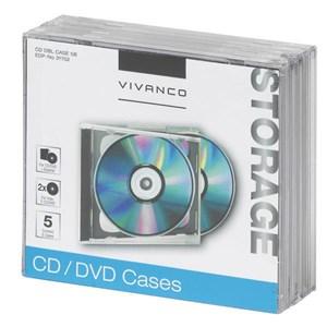 Image of   31702 optisk disk etui Smykkeboks 2 diske Sort, Transparent