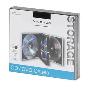 Image of   31704 optisk disk etui Smykkeboks 4 diske Sort, Transparent