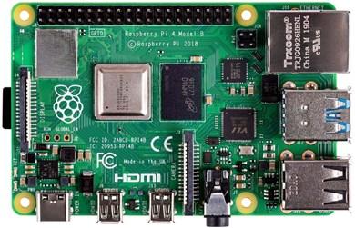 Raspberry Pi 4 Model B, 4 GB RAM, USB-C, dual Micro HDMI