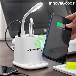 Billede af 5-i-1 trådløs oplader med organizer-stativ og USB LED-lampe DesKing InnovaGoods