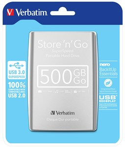 Image of   500GB Hard Drive 2,5 Store N Go USB 3.0, Silver