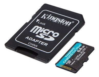 64GB microSDXC Canvas Go Plus 170R A2 U3 V30 Card + ADP