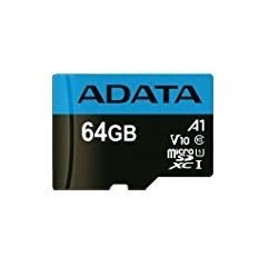 Image of 64GB MicroSDXC card with SD Adapter, UHS-I, Class 10, A1, blue