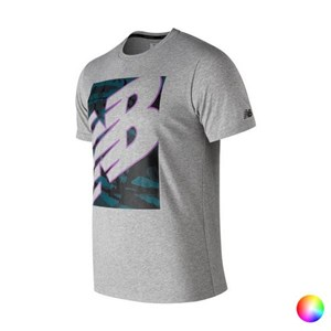 Kortærmet T-shirt til Mænd New Balance NB Heathertecht Lilla M