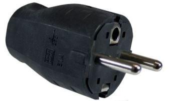 Image of 910.100 strømstik Type F 2P+E Sort