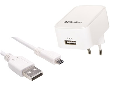 Image of   AC Charger EU Micro USB 2.4A, White