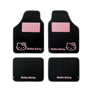 Bil gulvmåtte sæt Hello Kitty Star Universal Sort Pink (4 pcs)