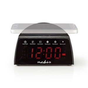 Image of   Clockradio med vækkeur | Trådløs opladning af telefon | FM | Bluetooth | Stereo