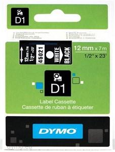 Image of   D1, markeringstape, 12mm, hvid tekst på sort tape, 7m - 45021