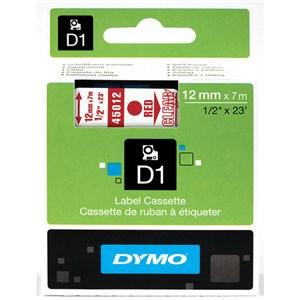 Image of   D1, markeringstape, 12mm, rød tekst på transparent tape, 7m - 4