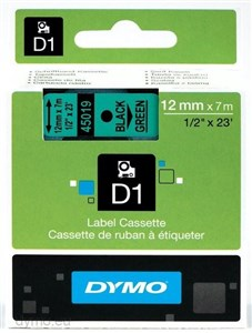 Image of   D1, markeringstape, 12mm, sort tekst på grøn tape, 7m - 45019