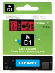 Image of   D1, markeringstape, 12mm, sort tekst på rød tape, 7m - 45017