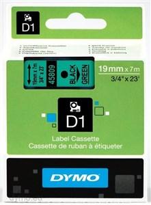 Image of   D1, markeringstape, 19mm, sort tekst på grøn tape, 7m - 45809