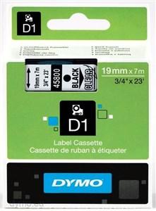 Image of   D1, markeringstape, 19mm, sort tekst på transp. tape, 7m - 45800