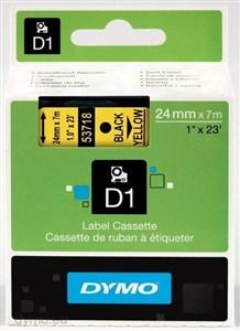 Image of   D1, markeringstape, 24 mm, sort tekst på gul tape, 7 m.