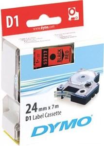 Image of   D1, markeringstape, 24mm, sort tekst på rød tape, 7m - 53717