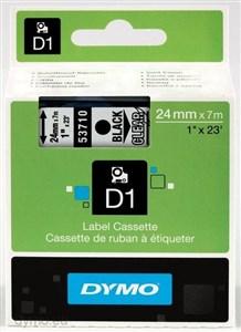 Image of   D1, markeringstape, 24mm, sort tekst på transparent tape, 7m - 5
