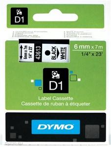 Image of   D1, markeringstape, 6 mm, sort tekst på hvid tape, 7 m