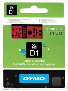 Image of   D1, markeringstape, 9mm, sort tekst på rød tape, 7m - 40917
