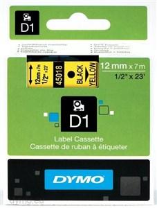 Image of   D1® - Standard - Sort på gul - 12mm x 7m