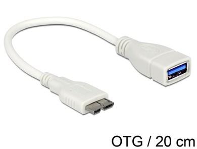 Image of 0.2m, Micro USB3.0-B - USB3.0-A USB-kabel 0,2 m 3.2 Gen 1 (3.1 Gen 1) Micro-USB B USB A Hvid