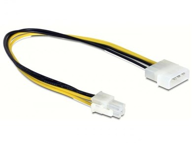 Image of   0.3m P4/Molex 4-pin Sort, Gul