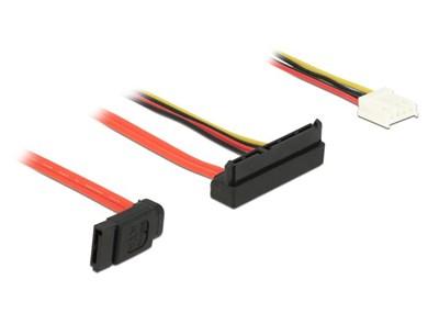 Image of   0.3m, SATAIII 7p + Floppy 4p/SATAIII 22p SATA-kabel 0,3 m SATA 7-pin + Molex (4-pin) SATA 22-pin Sort, Rød