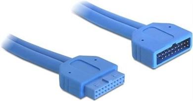 Image of   DeLOCK intern forlængerkabel til USB 3.0. IDC20 han - hun, 0,45m, bl?