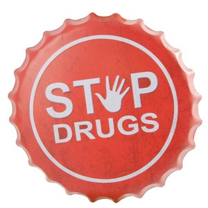 Image of   kapsel, metalophæng STOP DRUGS Ø40,