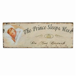 Image of   metalskilt THE PRINCE SLEEPS 13X36 cm