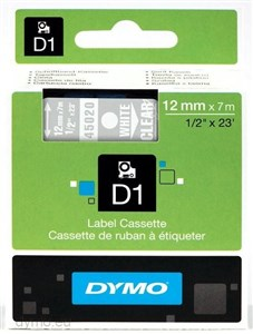 Image of   D1® - Standard - Hvid på gennemsigtig - 12mm x 7m