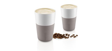 Café Latte-krus, 2 stk. Warm grey 360 ml
