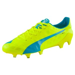 Image of   Football boots Puma Evo Speed 1.4 LTH FG yellow and blue
