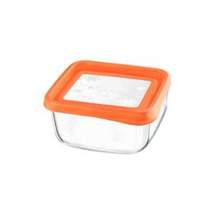 Billede af Firkantet madkasse med låg Bormioli (15 x 15 x 6,4 cm) Orange
