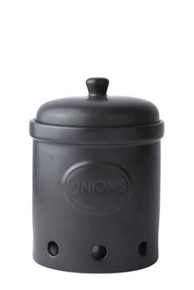 Galzone Løg Krukke - m. låg - Keramik - Sort - D 15,0cm - H 21,0cm.