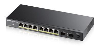 Image of   GS1100-10HP, 8-port GbE PoE+ Switch, 8xRJ45, 2xSFP, black