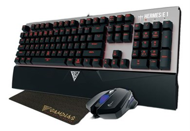 GAMDIAS HERMES E1 mechanical keyboard kit, mouse,mousemat,black/silver
