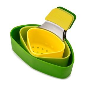 Billede af Nest dørslag med håndtag. 3 dele. 15,6 x 7,2 x 13,3 cm. Grøn/gul.