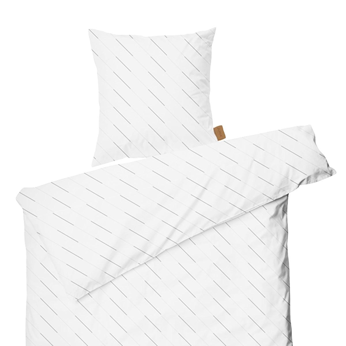 Splinterny Juna Rain, Sengesæt, 140x220, white/light grey sengetøj - Skiftselv.dk TL78