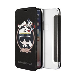 Image of   Karl Sailor case for iPhone X/XS, flip case, PU leather