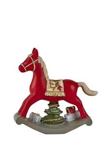 Image of   Figur. Gyngehest. Polyresin. Rød. H 11 cm. L 11 cm.