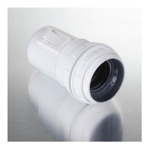 Image of   Lampefatning E27 med ringe og afbryder, hvid