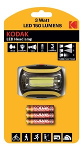 Image of   LED Headlamp, 150lm, 3 modes, 3W single LED, IP44, black