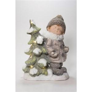 Image of   Dreng med LED juletræ.