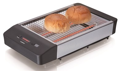 Image of   Flat toaster,black plastic & br.s/s, 600W