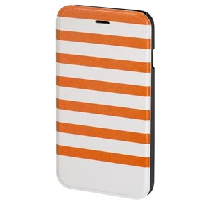 Mobil Wallet DesignLine iPhone 6/6S Stripe Orange/Hvid